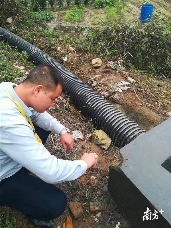 陆飞红检查村中水利设施建设情况。陈咏怀 摄
