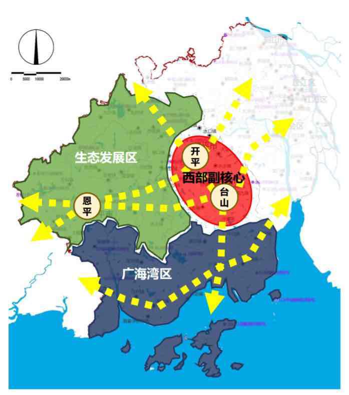 江门市西部发展区空间布局图。
