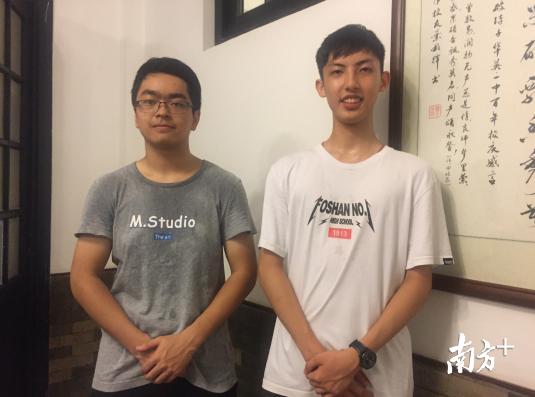 佛山一中彭仕杰、潘健泓两位同学均确认进入全省理科排名前100名。王雅铄摄
