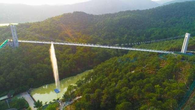 图为盈香生态园凌云飞渡玻璃桥。受访者供图。