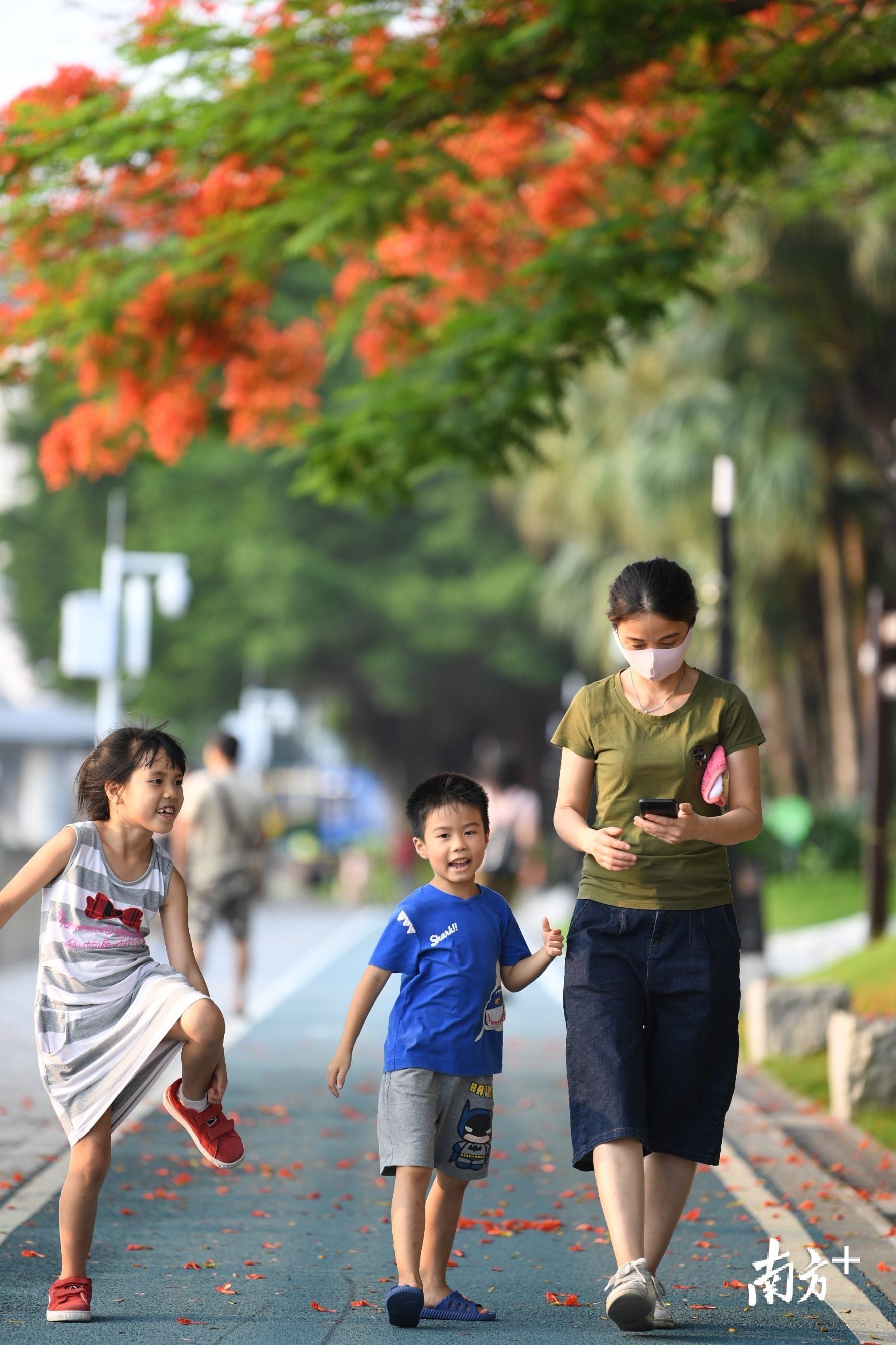 一位妈妈和两个孩子漫步花下,有说有笑。杨兴乐摄