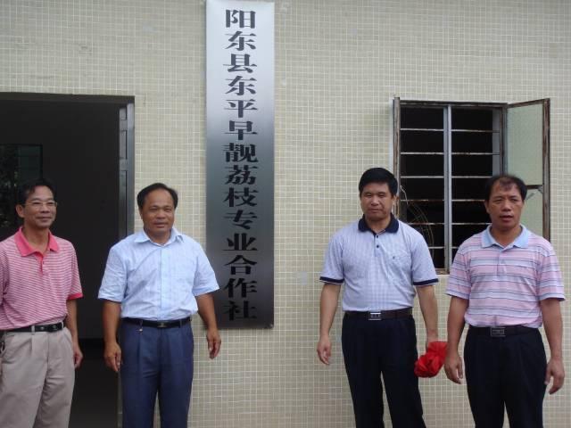 2009年,在李建国建议下,何石生(左二)成立早靓荔枝专业合作社