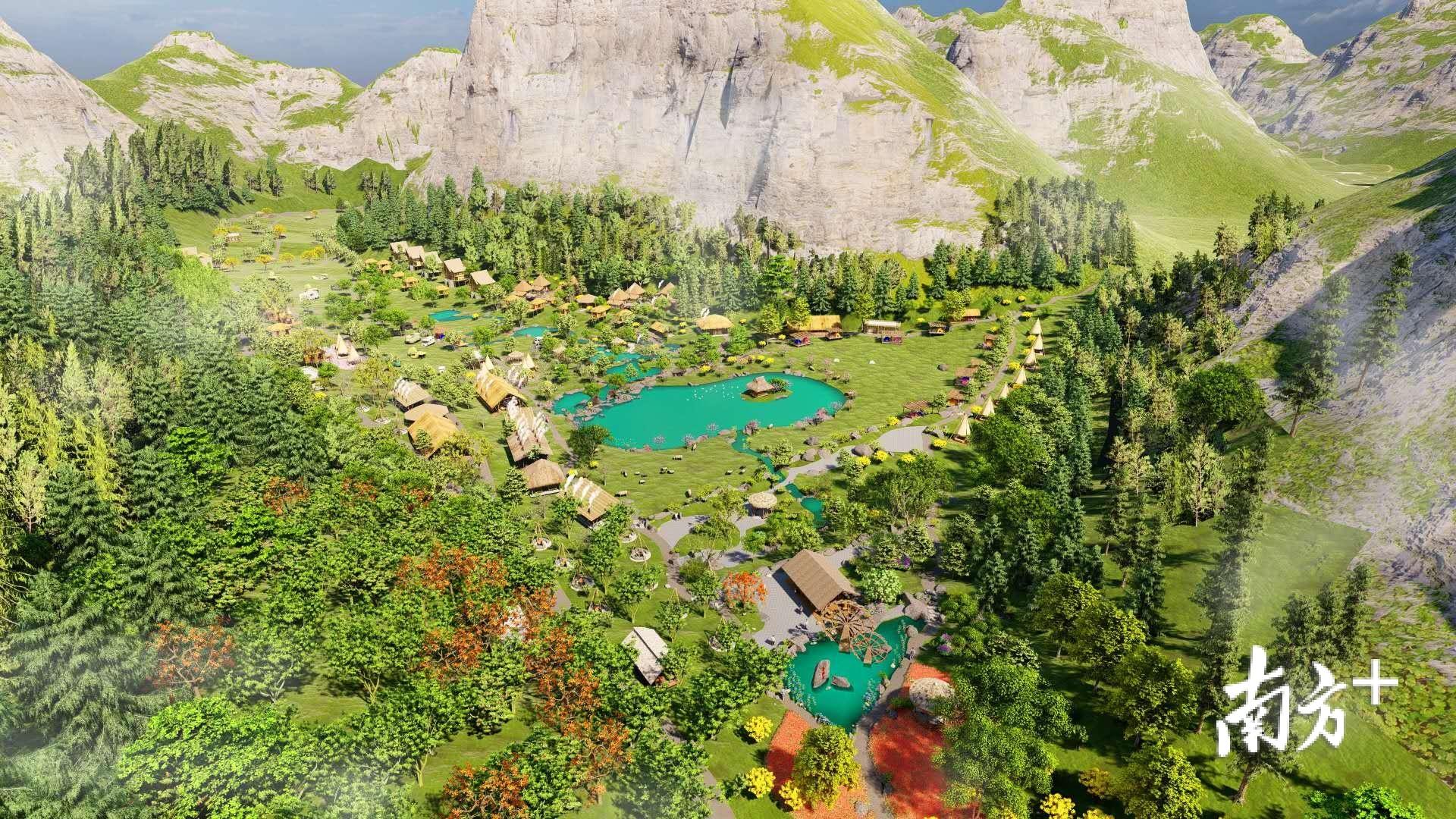 寻源谷森林康养基地(户外运动基地)项目效果图。