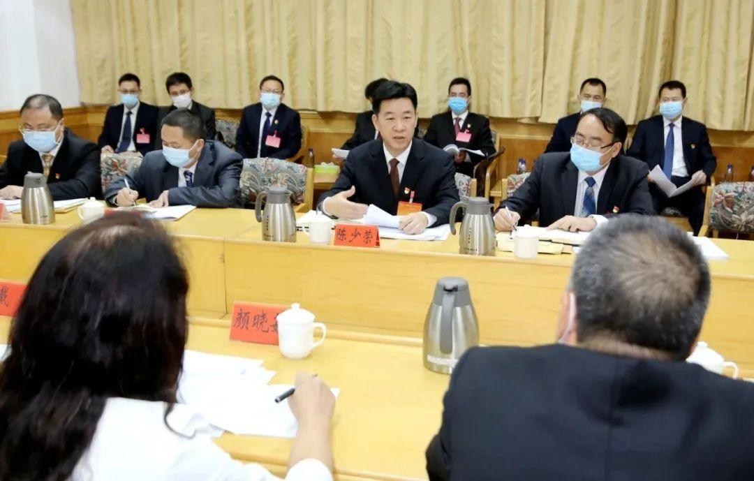 韶关市委副书记、代理市长陈少荣参与分组讨论并讲话。