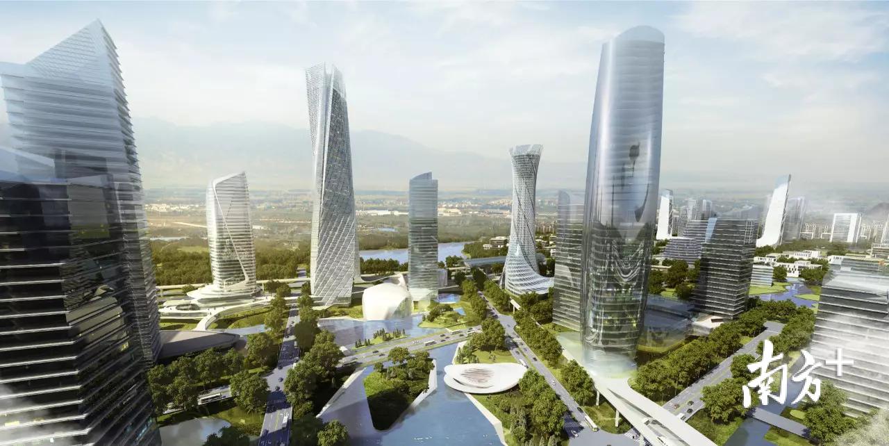 黄江人工智能小镇效果图。