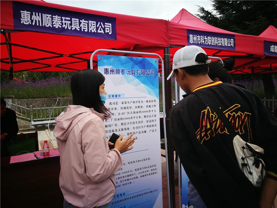 道孚县召开2020年就业扶贫专场招聘会,惠州市21家企业带来了5500个岗位。