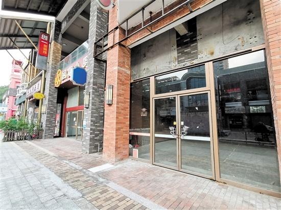 万达五邑老街部分商铺空置。