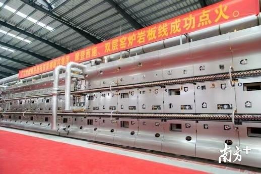 中国蒙娜丽莎瓷砖西樵基地特种高性能陶瓷板材绿色化、智能化、技术化窑炉正式落成。企业供图