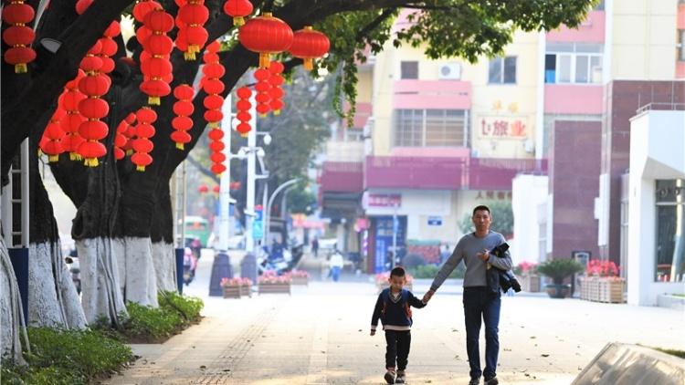 多图|年味渐浓:白沙大道挂起红灯笼
