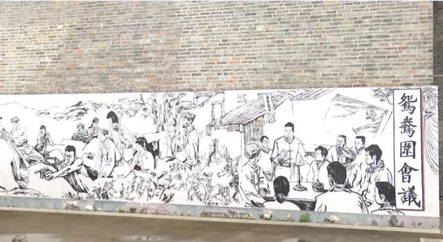 灵潭村鸳鸯围墙画