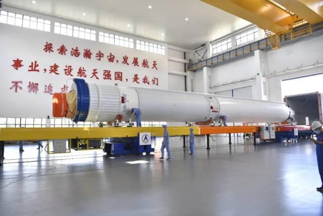 2021年8月16日,长征七号遥四运载火箭运抵文昌航天发射场。