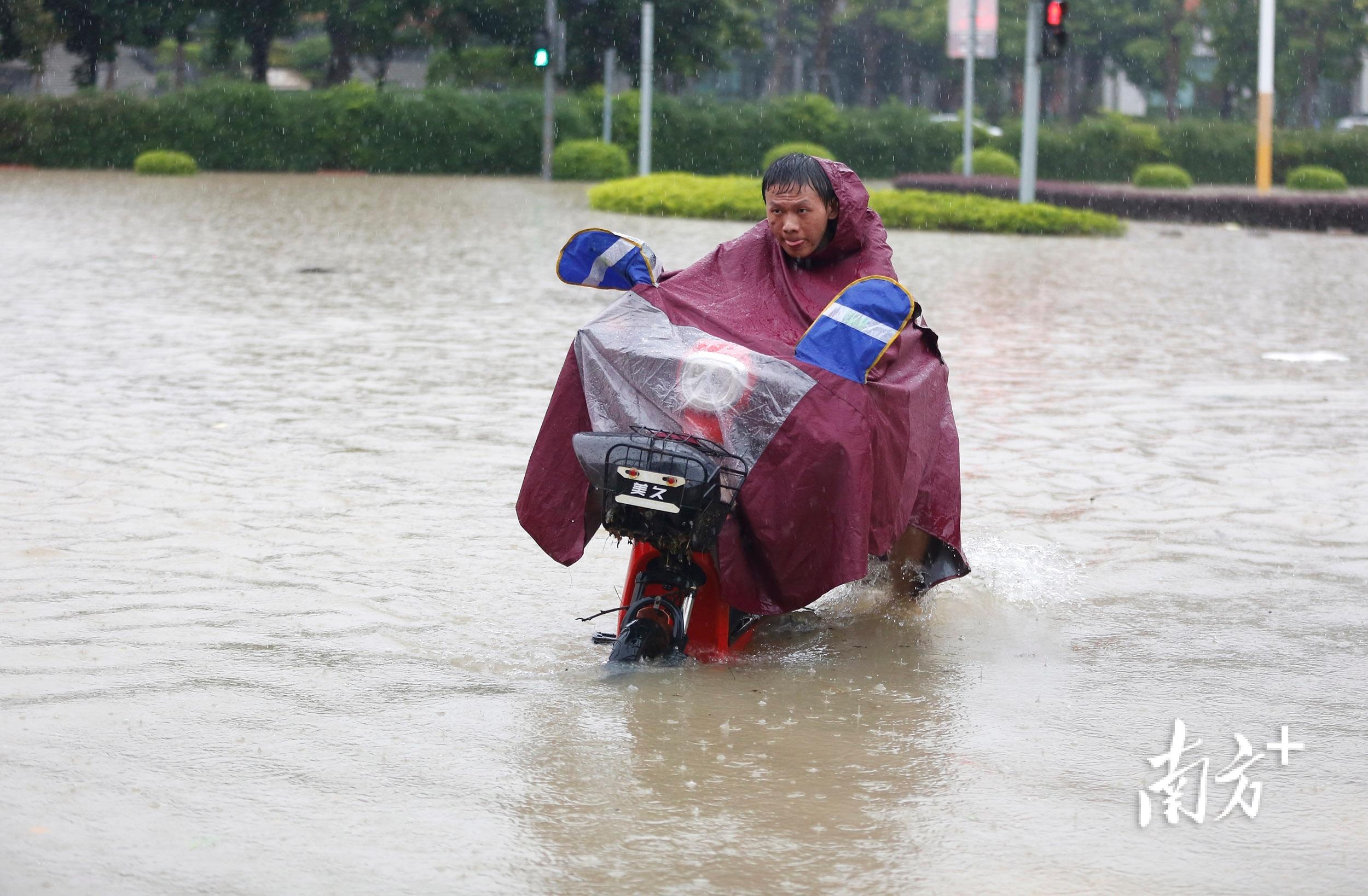 10月10日11时15分,三乡镇景观大道,男子推着电动车从积水中走过。 南方+ 叶志文 摄