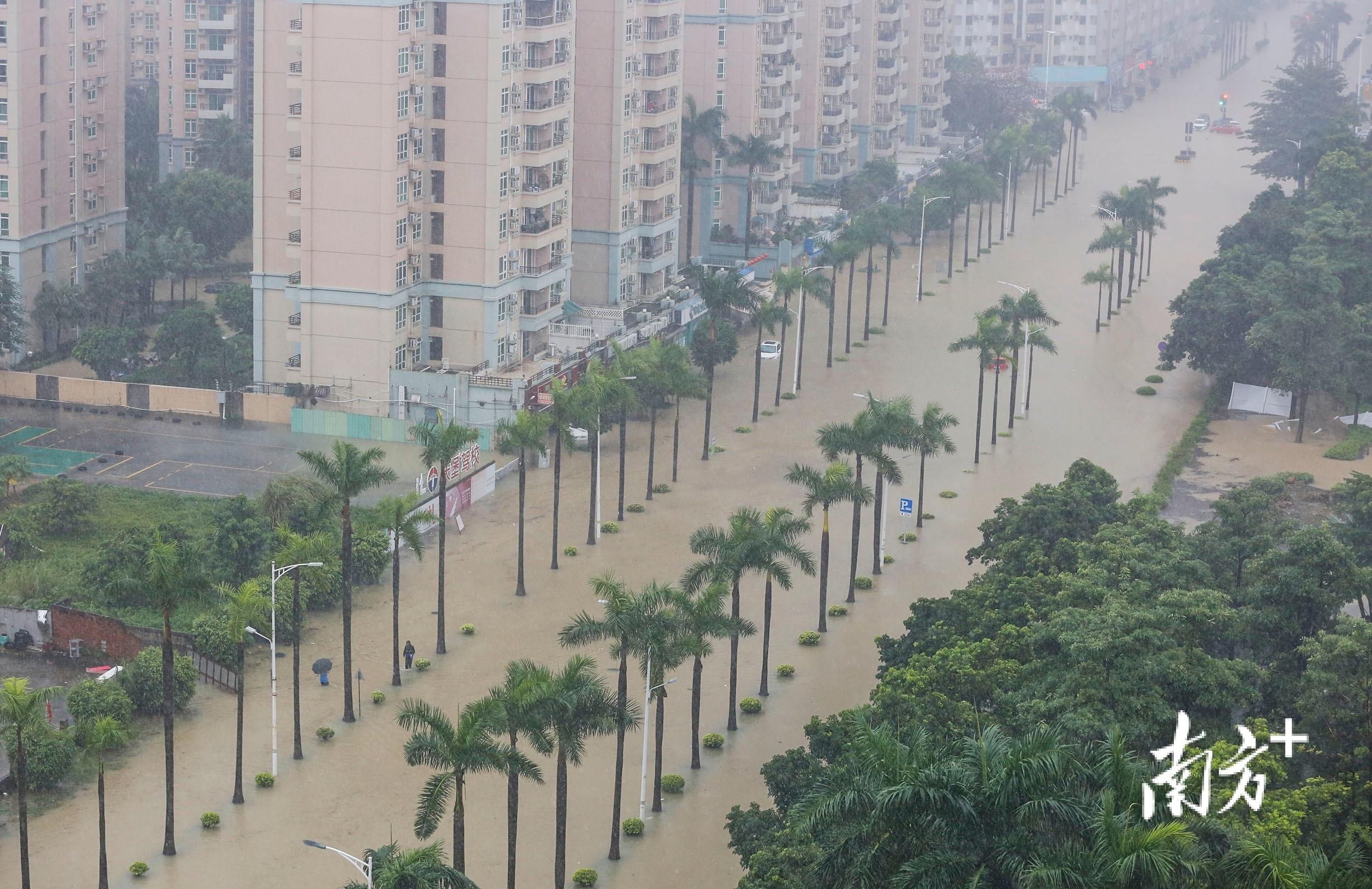 10月10日13时15分,雨水未停,三乡镇新城路水浸严重。 南方+ 叶志文 摄